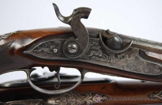 Militaria: Pareja de Pistolas francesas de avancarga con llaves de Percusión, guarniciones de plata, Siglo XIX - Foto 12 - 26594841
