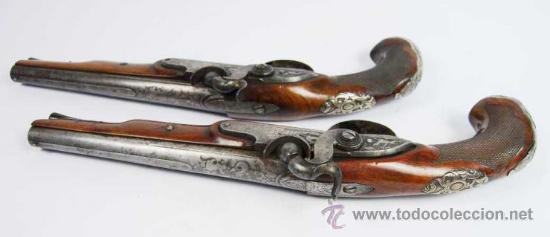 Militaria: Pareja de Pistolas francesas de avancarga con llaves de Percusión, guarniciones de plata, Siglo XIX - Foto 15 - 26594841