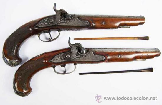 Militaria: Pareja de Pistolas francesas de avancarga con llaves de Percusión, guarniciones de plata, Siglo XIX - Foto 18 - 26594841