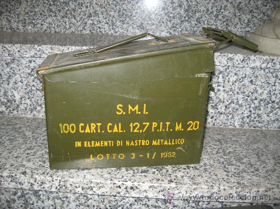 CAJA DE MUNICIONES ITALIANA 1962 ALTURA 18 ANCHO 30X15.5 CM. BUEN ESTADO (Militar - Cartuchería y Munición)
