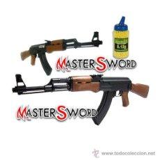 Militaria: FUSIL RIFLE AK47 RUSO AIRSOFT + MUNICION 6 MM. 2000 BOLAS P.V.C. 88 CMS. Lote 222315847
