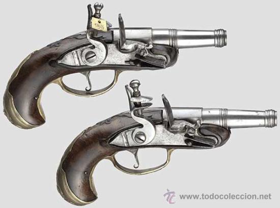 PAREJA DE PISTOLAS DE CHISPA DE 1740 ORIGINALES DIGNAS DE MUSEO (Militar - Armas de Fuego de Avancarga y Complementos)