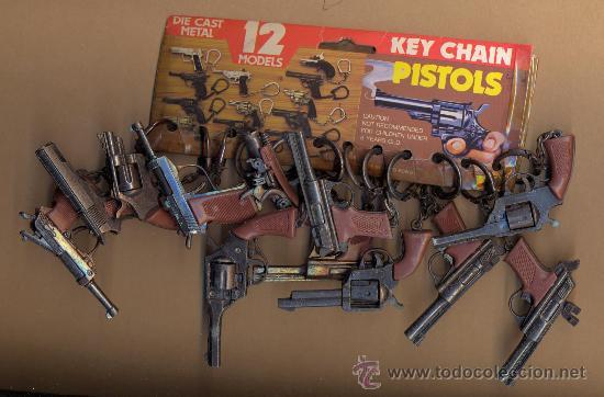 Militaria: - 30 LLAVEROS PISTOLA DE LOS AÑOS 70 - 30 LLAVEROS PISTOLA ARTICULADOS EN METAL Y CACHAS DE PASTA - Foto 2 - 128367400