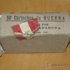 Militaria: CAJA VACIA PARA 50 CARTUCHOS MAUSER DE 7.92 MM. ESPAÑA. INERTE. Nº 2.. Lote 36390626