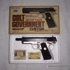 Militaria: COLT GOVERNMENT CUSTOM AIRSOFT GUN PISTOLA BOLAS DE PLASTICO EN SU CAJA. Lote 37236961