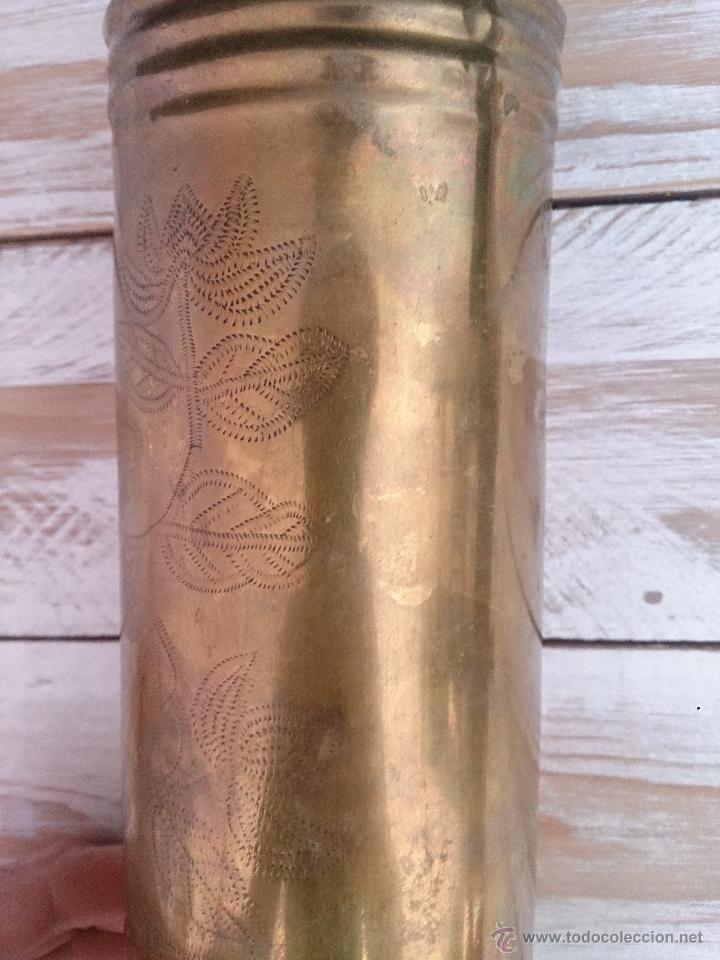 Militaria: Cuerpo de vaina de bronce alemana tallada y decorada.1918. Primera guerra mundial - Foto 4 - 114353012