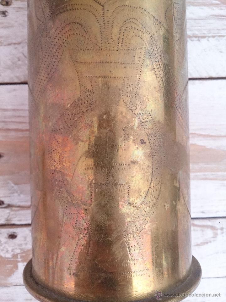 Militaria: Cuerpo de vaina de bronce alemana tallada y decorada.1918. Primera guerra mundial - Foto 7 - 114353012