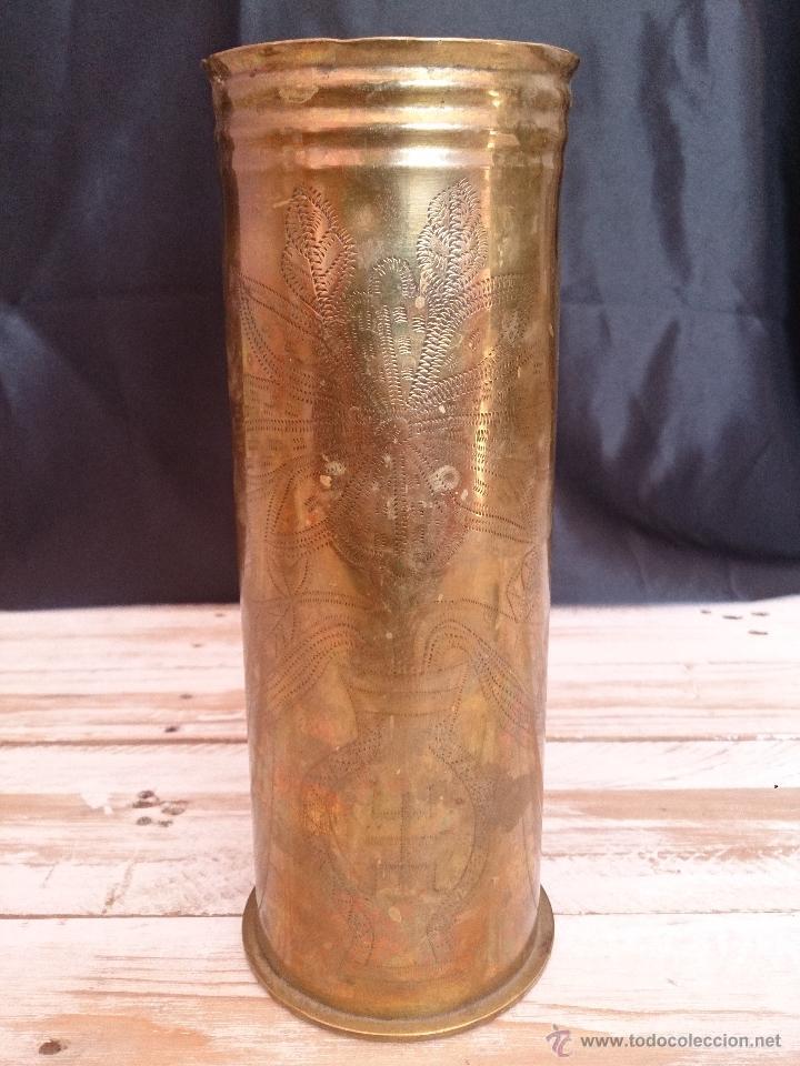 Militaria: Cuerpo de vaina de bronce alemana tallada y decorada.1918. Primera guerra mundial - Foto 10 - 114353012