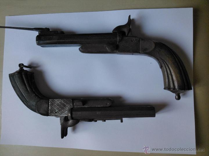 PAR DE PISTOLAS DE DOS CAÑONES LEFAUCHEUX (1860) (Militar - Armas de Fuego Inutilizadas)