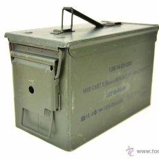 Militaria: CAJA MILITAR DE MUNICION ORIGINAL METALICA - CAJA BALAS DE METAL CALIBRE 9X19, M193. Lote 57609246