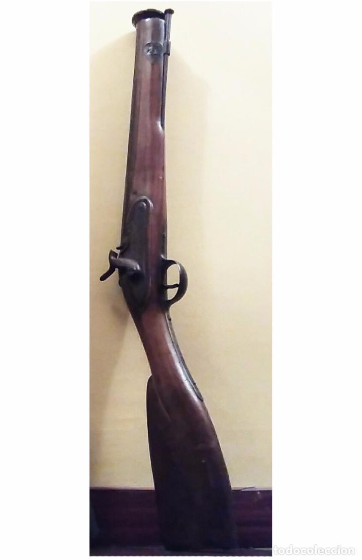 PRECIOSO ANTIGUO TRABUCO BRONCE CON SELLOS (Militar - Armas de Fuego de Avancarga y Complementos)