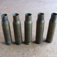 Militaria: LOTE 5 CARTUCHOS CASQUILLOS VAINAS O BALAS DE CETME - MUNICION INERTE. Lote 64200527