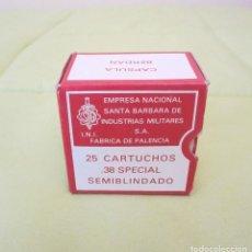 Militaria: CAJA DE CARTON PARA 25 CARTUCHOS DEL CALIBRE 38 SPECIAL DE SANTA BARBARA. PALENCIA. Lote 65614290