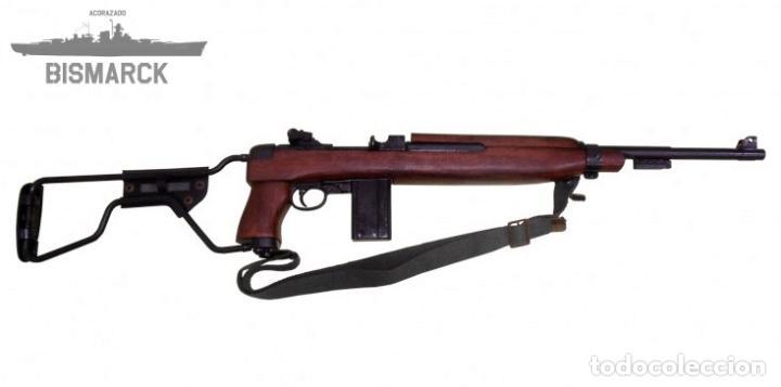 Militaria: USA CARABINA M1A1 1944 MODELO PARACAIDISTA REPLICA DENIX Segunda Guerra Mundial - Foto 3 - 96719411