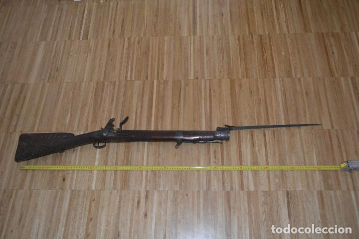 Militaria: Trabuco insólito con bayoneta automática tallado a mano en madera y acero - Foto 3 - 100679759