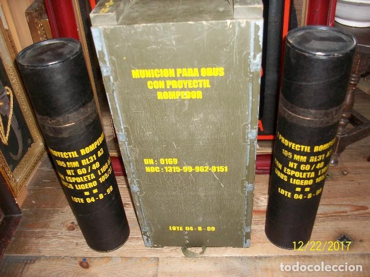 CAJA VACIA DE MUNICION DE 105 MILIMETROS (Militar - Cartuchería y Munición)