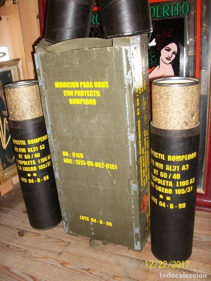 Militaria: CAJA VACIA DE MUNICION DE 105 MILIMETROS - Foto 3 - 107222831