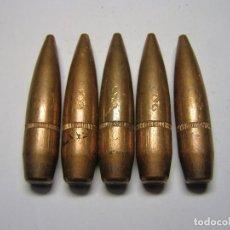 Militaria: LOTE 5 PROECTILES INERTES CALIBRE 12.7 X 99 MM, O 50 BRODWING.. Lote 108033955