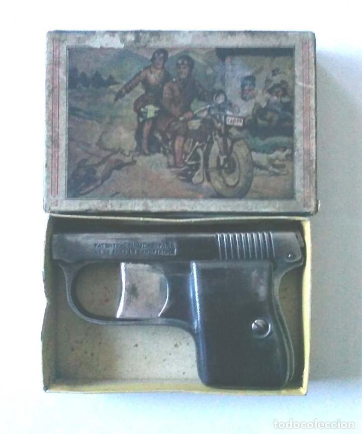 PISTOLA DETONADORA CASA MORITZ Y GERSTENBERGER DE ZELLA ALEMANIA AÑO 1910, ESPANTA PERROS, CON CAJA (Militar - Réplicas de Armas de Fuego y CO2 )