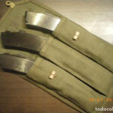 Militaria: LOTE 3 CARGADORES SUBFUSIL RUSO PPSH 43 CON BOLSA, INERTES. Lote 110062227