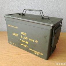 Militaria: CAJA METÁLICA MILITAR PARA MUNICIÓN BALAS ITALIANA. Lote 118747915