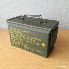Militaria: CAJA METÁLICA MILITAR PARA MUNICIÓN BALAS ESPAÑOLA EJÉRCITO ESPAÑOL. Lote 118748071