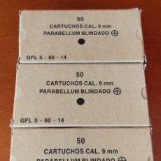 Militaria: LOTE DE 3 CAJAS DE MUNICIÓN VACÍAS. 50 CARTUCHOS CALIBRE 9 MM PARABELLUM BLINDADOS. Lote 124324199