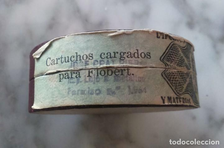 Militaria: Antigua caja munición. 40 cartuchos vacíos inertes Sistema Flobert, Glamise, Ripollet, Barcelona. - Foto 4 - 127129003