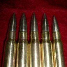 Militaria: PEINE DE 5 CARTUCHOS Y CLIP ,PARA FR-8 ,AÑO 1977, SANTA BARBARA, PUNTAS NIQUELADAS. INERTE.. Lote 130341550