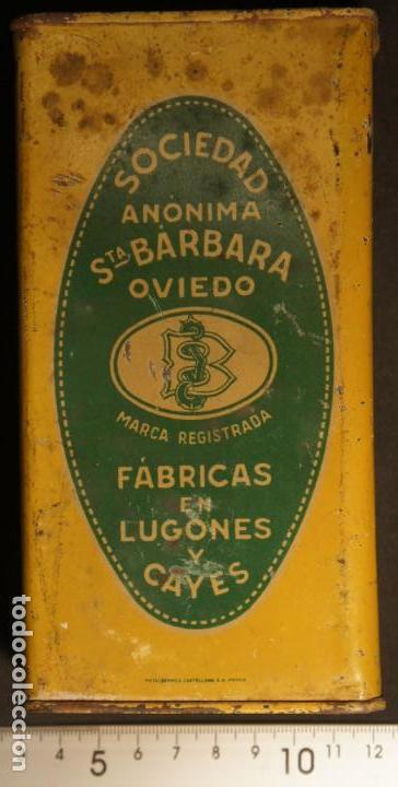 Militaria: Antiguo bote, caja o lata de pólvora de caza sin humo. P.S.B. Santa Bárbara. 250grs. - Foto 3 - 146943402