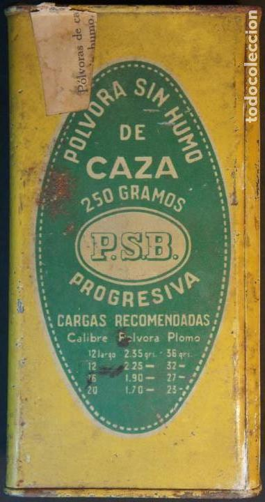 Militaria: Antiguo bote, caja o lata de pólvora de caza sin humo. P.S.B. Santa Bárbara. 250grs. - Foto 5 - 146943402