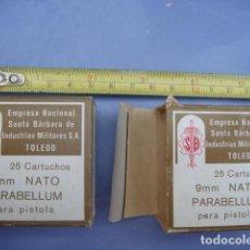 Militaria: PAR DE CAJAS VACIAS DE MUNICION...9 MM PARABELLUN..EMPRESA NACIONAL SANTABARBARA TOLEDO-AÑOS 70. Lote 150983622