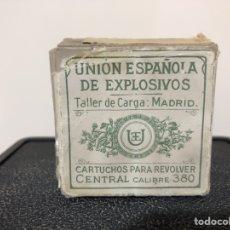 Militaria: CAJA DE MUNICIÓN DE UNIÓN ESPAÑOLA DE EXPLOSIVOS, TALLER DE CARGA MADRID. ANTIGUO. 1916. Lote 152822058