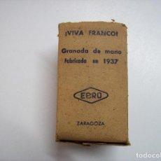 Militaria: CAJA GRANADA TONELETE EBRO ZARAGOZA 1937. Lote 154482354