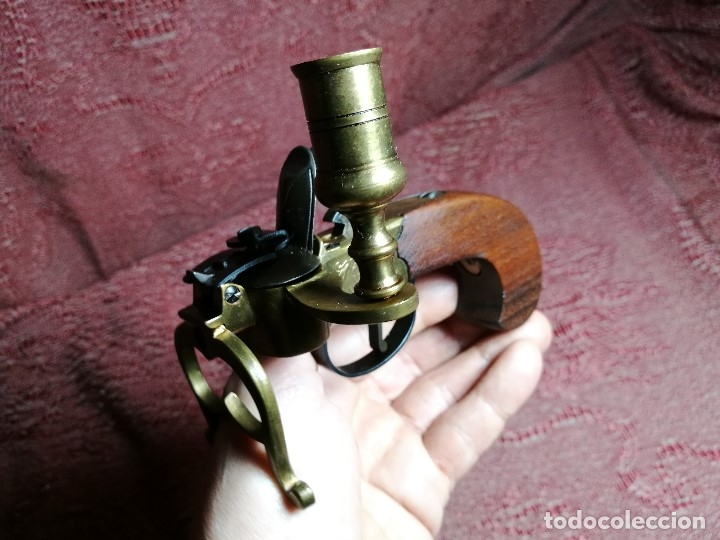Militaria: pistol Flintlock Tinder Lighter-PISTOLA LAMPARA MECHERO CANDELABRO ITALY SIGLO XX-REF-CV - Foto 2 - 158941178