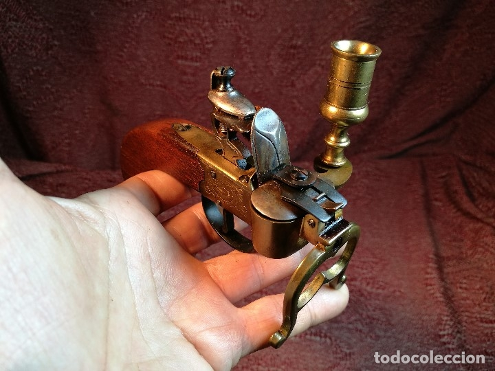 Militaria: pistol Flintlock Tinder Lighter-PISTOLA LAMPARA MECHERO CANDELABRO ITALY SIGLO XX-REF-CV - Foto 6 - 158941178