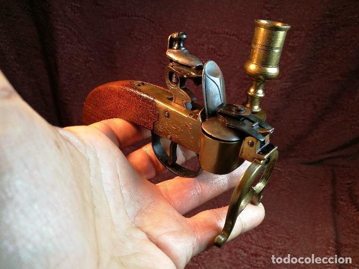 Militaria: pistol Flintlock Tinder Lighter-PISTOLA LAMPARA MECHERO CANDELABRO ITALY SIGLO XX-REF-CV - Foto 8 - 158941178