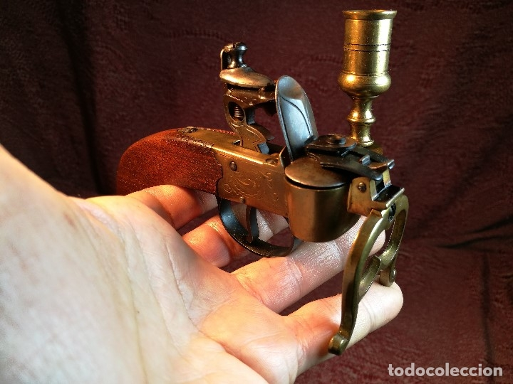 Militaria: pistol Flintlock Tinder Lighter-PISTOLA LAMPARA MECHERO CANDELABRO ITALY SIGLO XX-REF-CV - Foto 9 - 158941178