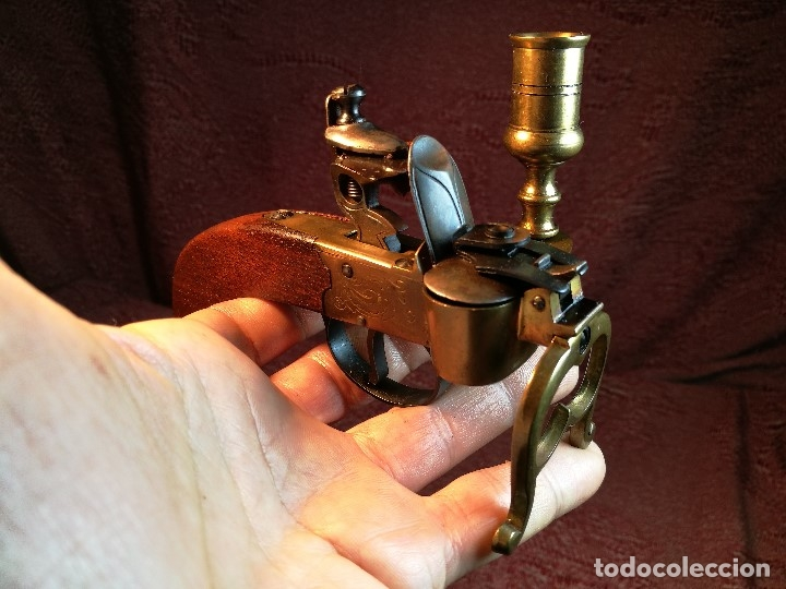 Militaria: pistol Flintlock Tinder Lighter-PISTOLA LAMPARA MECHERO CANDELABRO ITALY SIGLO XX-REF-CV - Foto 10 - 158941178