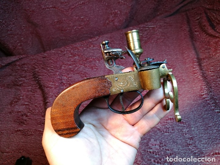 Militaria: pistol Flintlock Tinder Lighter-PISTOLA LAMPARA MECHERO CANDELABRO ITALY SIGLO XX-REF-CV - Foto 25 - 158941178