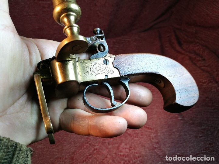 Militaria: pistol Flintlock Tinder Lighter-PISTOLA LAMPARA MECHERO CANDELABRO ITALY SIGLO XX-REF-CV - Foto 42 - 158941178