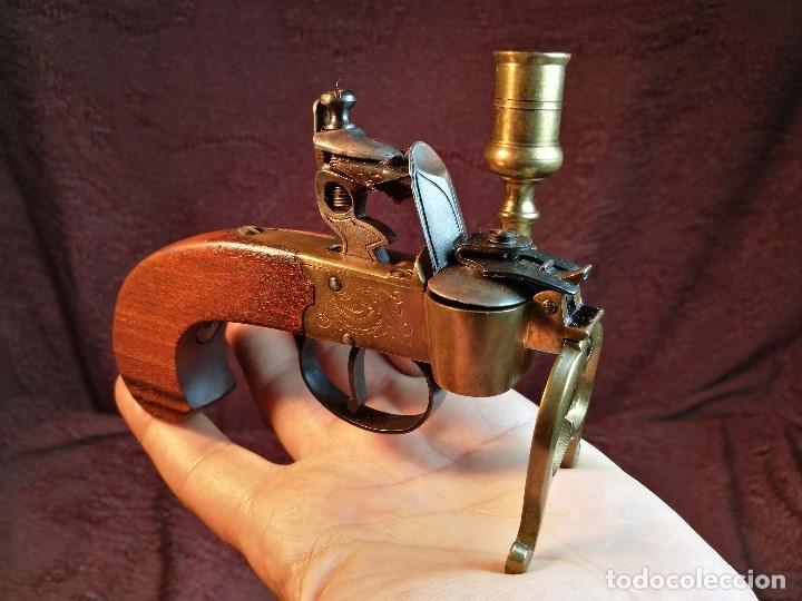 Militaria: pistol Flintlock Tinder Lighter-PISTOLA LAMPARA MECHERO CANDELABRO ITALY SIGLO XX-REF-CV - Foto 44 - 158941178