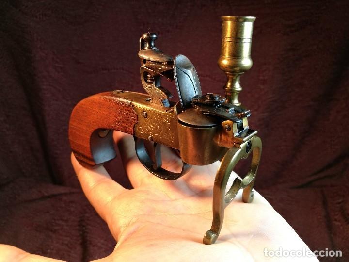 Militaria: pistol Flintlock Tinder Lighter-PISTOLA LAMPARA MECHERO CANDELABRO ITALY SIGLO XX-REF-CV - Foto 45 - 158941178