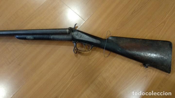ANTIGUA Y PRECIOSA ESCOPETA INUTILIZADA POR EL TIEMPO DE PLACENCIA 1866 GRABADA (Militar - Armas de Fuego Inutilizadas)