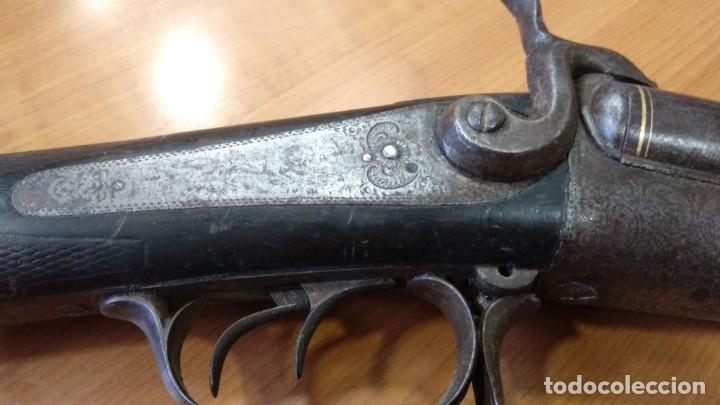 Militaria: Antigua y preciosa escopeta inutilizada por el tiempo de Placencia 1866 grabada - Foto 7 - 165351918