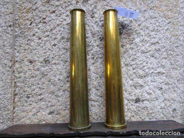 ARMADA - 2 VAINAS CASQUILLOS MUNICION ANTIAEREA DE USO EN DEDALO Y CANARIAS, 35CM 2KG + INFO 1S (Militar - Cartuchería y Munición)