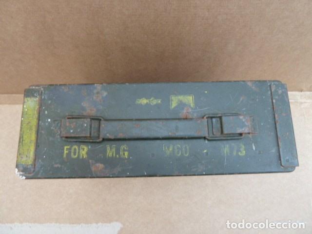 Militaria: Caja de municion metalica, para MG - M 60 - M73. para 200 cartuchos calibre 7,62...con uso.inerte. - Foto 3 - 172131915