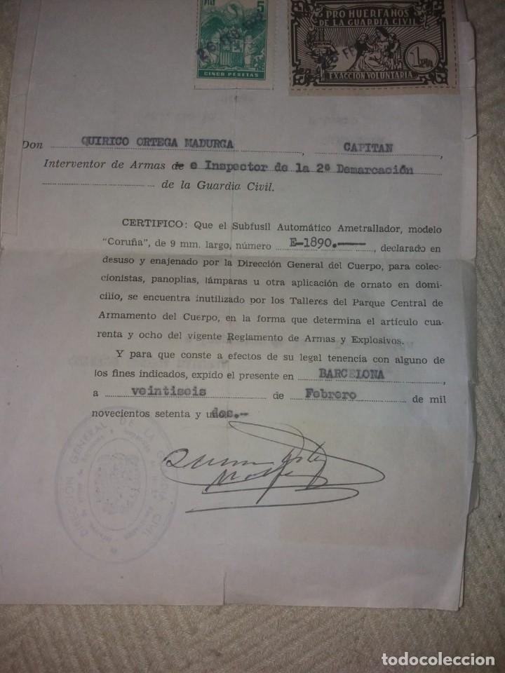 Militaria: Subfusil automático ametrallador, modelo Coruña, 9mm. - Foto 2 - 175577202