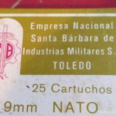 Militaria: CAJA DE MUNICIÓN (VACIA) 25 CARTUCHOS 9MM PARABELLUM - TOLEDO. Lote 181395047