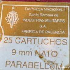 Militaria: CAJA DE MUNICIÓN (VACIA) 25 CARTUCHOS 9MM PARABELLUM - PALENCIA. Lote 181395201